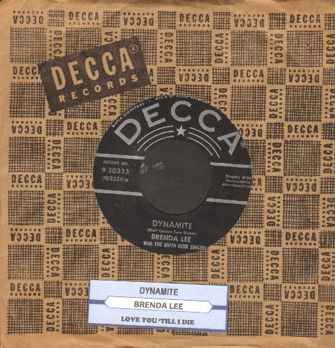 Lee, Brenda - Dynamite/Love You 'Till I Die (with juke box label and vintage Decca company sleeve) - VG7/ - 45 rpm Records