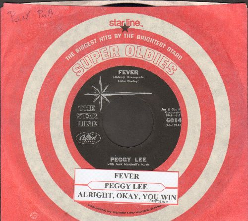 Lee, Peggy - Fever/Alright, Okay, You Win (double-hit re-issue)(NICE condition with company sleeve and juke box label) - NM9/ - 45 rpm Records
