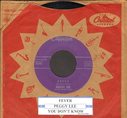 Lee, Peggy - Fever/You Don't Know (purple label with juke box label and vintage Capitol company sleeve) - NM9/ - 45 rpm Records