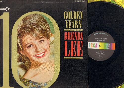 Lee, Brenda - 10 Golden Years: Jambalaya, Dynamite, Sweet Nothin's, I'm Sorry, All Alone Am I, Fool #1, Too Many Rivers (Vinyl STERO LP record, Mfd. By Capitol records on label) - NM9/EX8 - LP Records