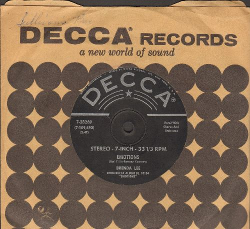 Lee, Brenda - Emotions/Just Another Lie (RARE 7 inch 33rpm, STEREO pressing, small spindle hole, with vintage Decca company sleeve) - EX8/ - 45 rpm Records