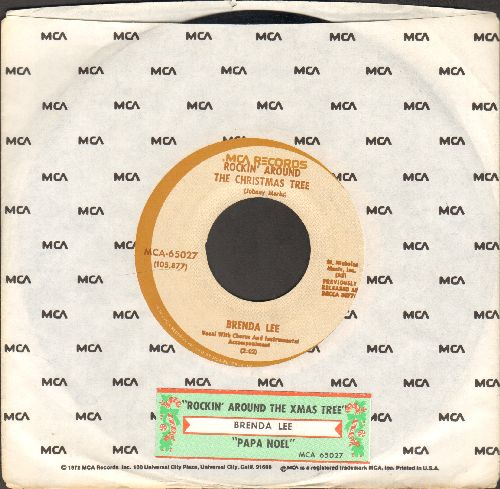 Lee, Brenda - Rockin' Around The Christmas Tree/Papa Noel (less common white label, brown circle re-issue with juke box label and MCA company sleeve) - EX8/ - 45 rpm Records