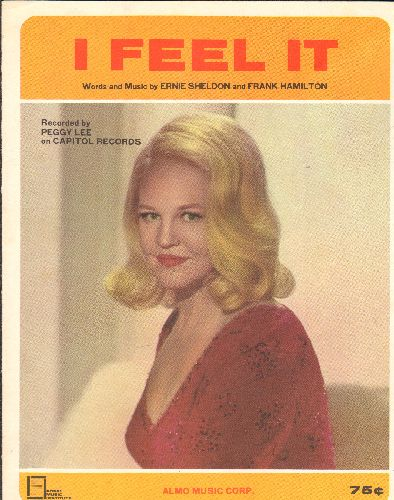Lee, Peggy - I Feel It - Vintage SHEET MUSIC for the Peggy Lee Hit (BEAUTIFIL cover portrait of the legendary singer, suitable for framing!) - NM9/ - Sheet Music