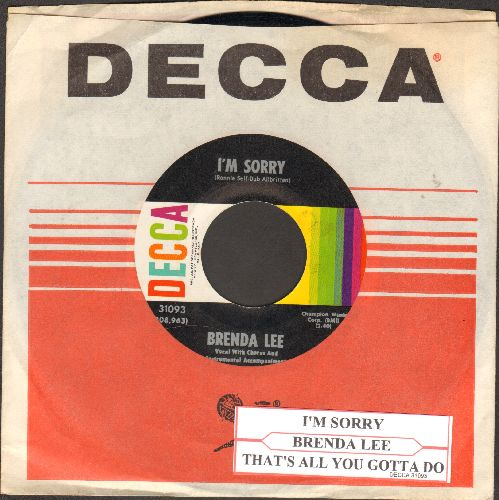 Lee, Brenda - I'm Sorry (So Sorry)/That's All You Gotta Do (NICE condition with juke box label and Decca company sleeve) - NM9/ - 45 rpm Records