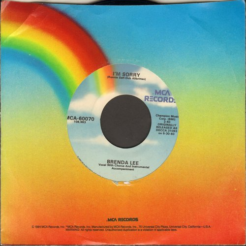 Lee, Brenda - I'm Sorry/All Alone Am I (re-issue) - EX8/ - 45 rpm Records