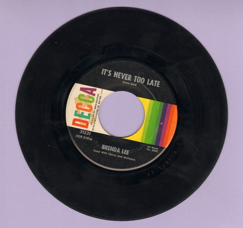 Lee, Brenda - You Can Depend On Me/It's Never Too Late (To Say I Love You)  - VG7/ - 45 rpm Records