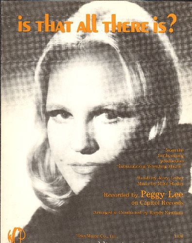 Lee, Peggy - Is That All There Is - Vintage SHEET MUSIC for Pegy Lee's 1971 Grammy Winner - NICE cover portrait of Peggy Lee, suitable for framing! - NM9/ - Sheet Music