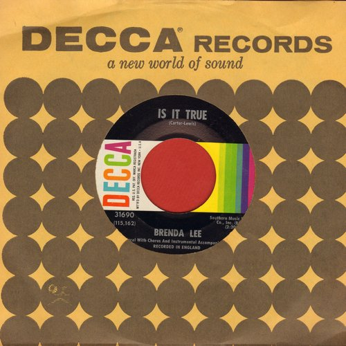 Lee, Brenda - Is It True?/Just Behind The Rainbow (with Decca company sleeve) - EX8/ - 45 rpm Records
