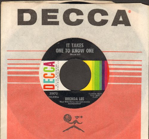 Lee, Brenda - It Takes One To Know One/Ain't Gonna Cry No More (with Decca company sleeve) - EX8/ - 45 rpm Records
