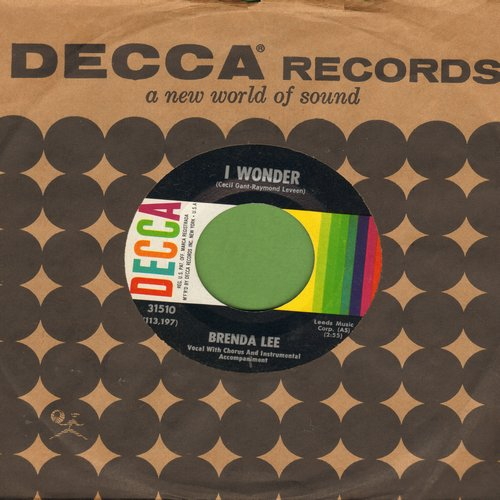 Lee, Brenda - I Wonder/My Whole World Is Falling Down (with vintage Decca company sleeve) - NM9/ - 45 rpm Records