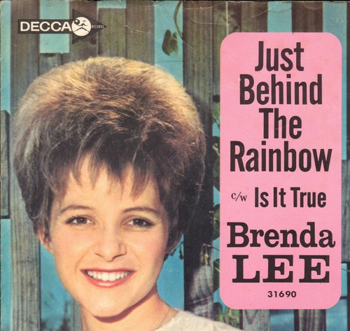 Lee, Brenda - Is It True?/Just Behind The Rainbow (with picture sleeve) - EX8/VG7 - 45 rpm Records