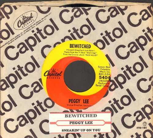 Lee, Peggy - Bewitched (ENCHANTING vocal version of the Classic TV Theme)/Sneakin' Up On You (with juke box label and vintage Capitol company sleeve)(bb) - NM9/ - 45 rpm Records