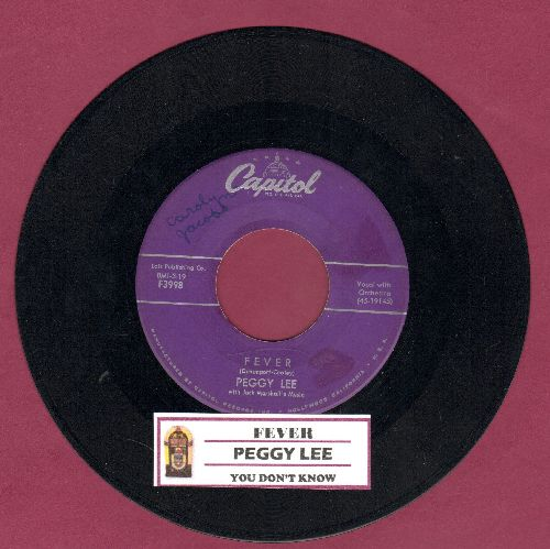 Lee, Peggy - Fever/You Don't Know (purple label with juke box label) - VG7/ - 45 rpm Records