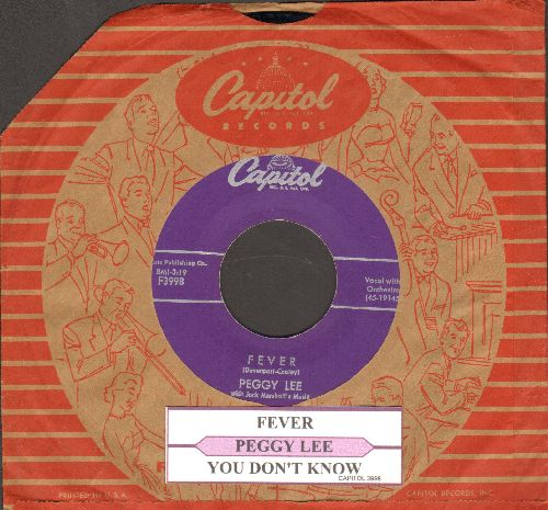 Lee, Peggy - Fever/You Don't Know (with juke box label and vintage Capitol company sleeve) - NM9/ - 45 rpm Records