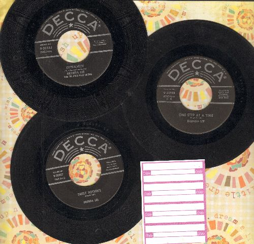 Lee, Brenda - 3-Pack of RARE First Pressing Brenda Lee 45. Includes hits Dynamite, One Step At A Time and Sweet Nothin's. Shipped in plain paper sleeves with 4 blank juke box labels. GREAT gift for a fan or to add to a collection! - VG6/ - 45 rpm Records
