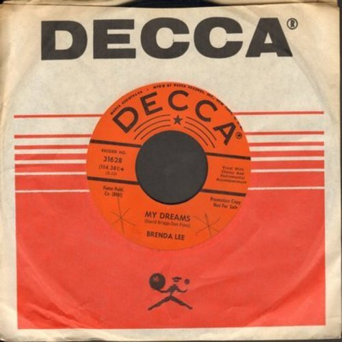 Lee, Brenda - My Dreams/Alone With You (orange label DJ advance pressing with Decca company sleeve) - EX8/ - 45 rpm Records