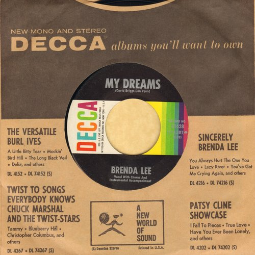 Lee, Brenda - My Dreams/Alone With You (with Decca company sleeve) - NM9/ - 45 rpm Records