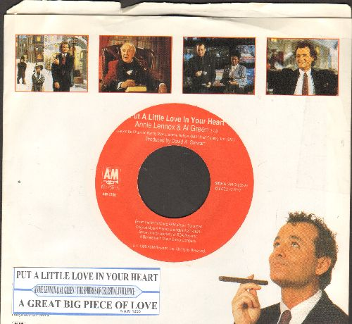 Lennox, Annie & Al Green - Put A Little Love In Your Heart/Great Big Piece Of Love (by The Spheres Of Celestial Influnce on flip-side) (both songs from film -Scrooged- with RARE picture sleeve and juke box label) - NM9/EX8 - 45 rpm Records