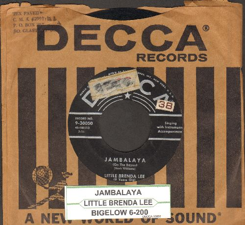 Lee, Little Brenda (9 Years Old) - Jambalaya (On The Bayou)/Bigelow 6-200 (RARE first pressing with vintage Decca company sleeve and juke box label) - VG6/ - 45 rpm Records