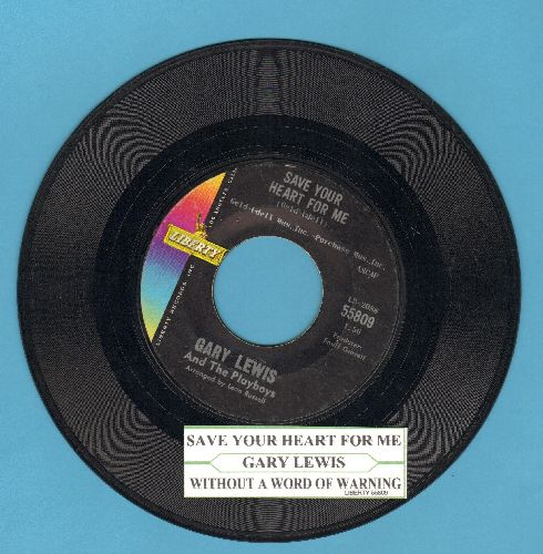 Lewis, Gary & The Playboys - Save Your Heart For Me/Without A Word Of Warning (with juke box label) - EX8/ - 45 rpm Records