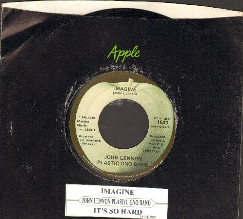 Lennon, John - Imagine/It's So Hard (with juke box label and Apple company sleeve) - NM9/ - 45 rpm Records