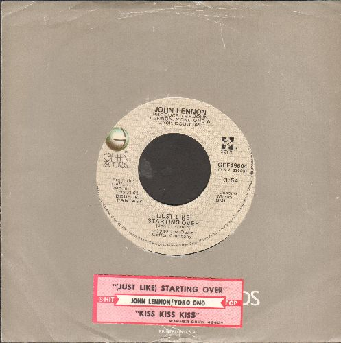 Lennon, John - Just Like Starting Over/Kiss Kiss Kiss (by Yoko Ono on flip side)(with juke box label and Geffen company sleeve) - EX8/ - 45 rpm Records
