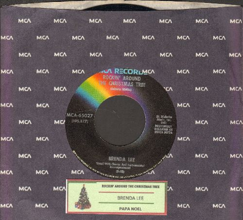 Lee, Brenda - Rockin' Around The Christmas Tree/Papa Noel (dark rainbow label 1970s re-issue with juke box label and MCA company sleeve) - EX8/ - 45 rpm Records