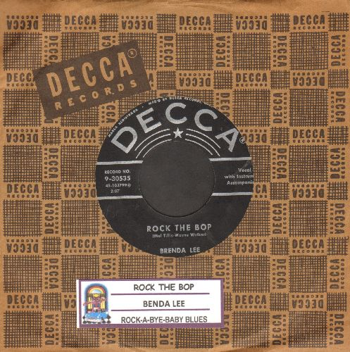 Lee, Brenda - Rock The Bop/Rock-A-Bye Baby Blues (with vintage Decca company sleeve and juke box label) - VG6/ - 45 rpm Records