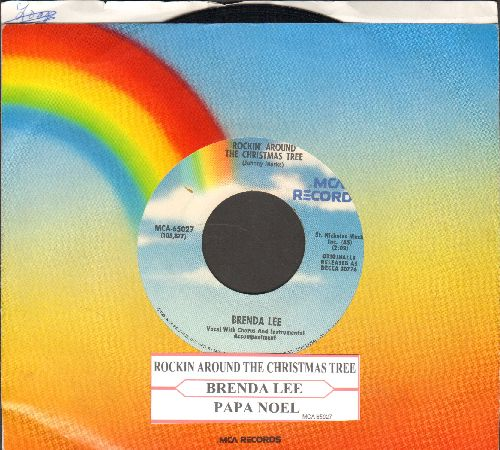 Lee, Brenda - Rockin' Around The Christmas Tree/Papa Noel (re-issue with MCA company sleeve) - VG7/ - 45 rpm Records