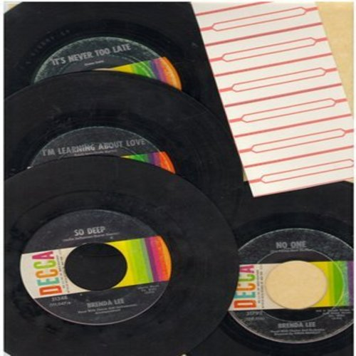 Lee, Brenda - Brenda Lee Fab-4 flips: 4 first pressing 45s with overlooked flips-side hits! Includes It's Never Too Late, So Deep, I'm Learning About Love and No One. Shipped in plain white paper sleeves with blank juke box labels) - VG7/ - 45 rpm Records