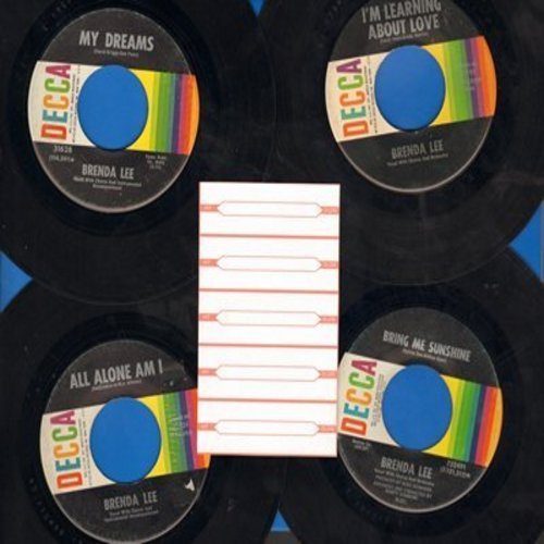 Lee, Brenda - Set of 4 first issue 45s. Hits include My Dreams, All Alone Am I, I'm Learning About Love, Bring Me Sunshine; shipped in white paper sleeves with 5 blank juke box labels. - EX8/ - 45 rpm Records