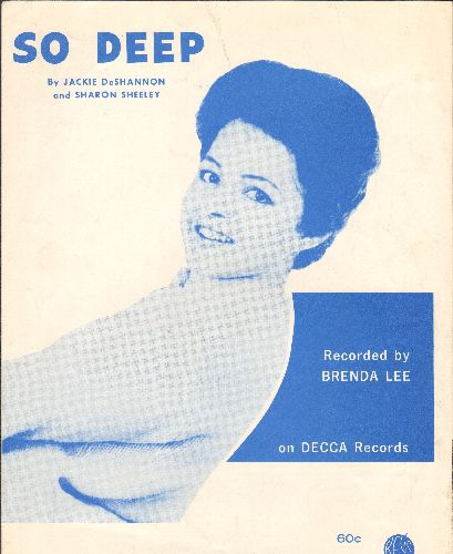 Lee, Brenda - So Deep - RARE Sheet Music for the hit song by Brenda Lee - VERY NICE cover portrait of the Teen Idol! - EX8/ - Sheet Music
