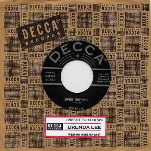 Lee, Brenda - Sweet Nothin's/Weep No More My Baby (black label first pressing NICE condition! - with Decca company sleeve) - EX8/ - 45 rpm Records