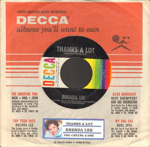 Lee, Brenda - Thanks A Lot/The Crying Game (with DECCA company sleeve and juke box label) - EX8/ - 45 rpm Records