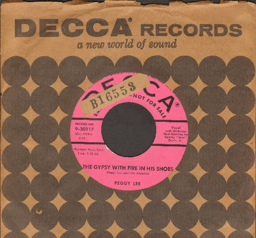 Lee, Peggy - The Gypsy With Fire In His Shoes/Where Flamingos Fly (pink label DJ advance pressing with vintage Decca company sleeve)(sol) - EX8/ - 45 rpm Records