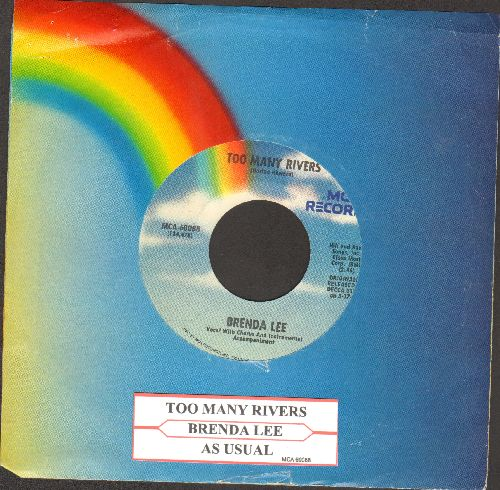 Lee, Brenda - Too Many Rivers/As Usual (double-hit re-issue with MCA company sleeve and juke box label) - NM9/ - 45 rpm Records