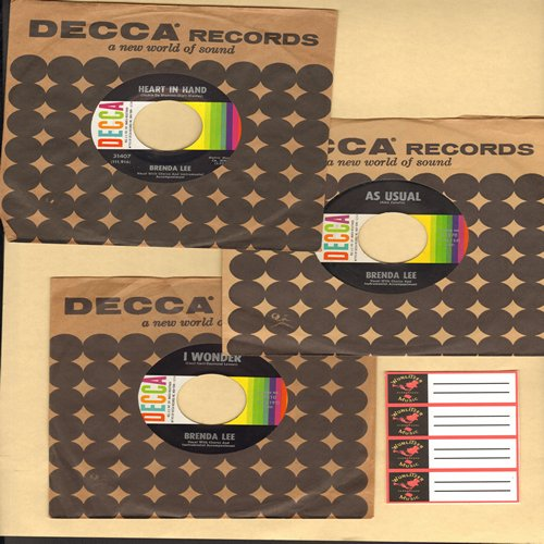 Lee, Brenda - 3-Pack of First Pressing Brenda Lee 45s with vintage Decca company sleeves + 4 blank juke box labels! Hits include Heart In Hand, I Wonder and As Usual. GREAT gift for a fan or to add to a collection! - NM9/ - 45 rpm Records