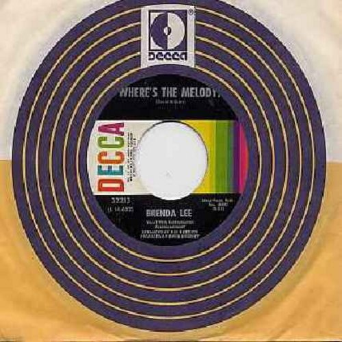 Lee, Brenda - Where's The Melody?/Save Me For A Rainy Day (with Decca company sleeve) - EX8/ - 45 rpm Records