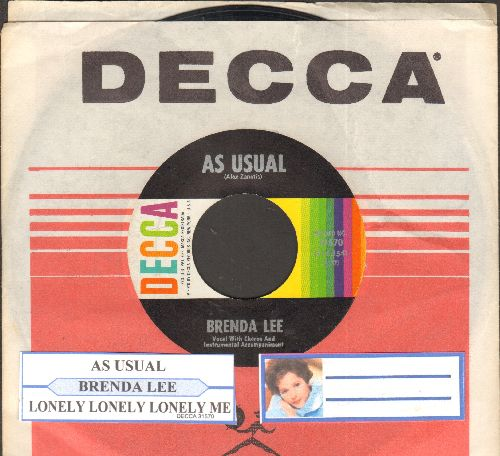 Lee, Brenda - As Usual/Lonely Lonely Lonely Me (with juke box label and Decca company sleeve) - EX8/ - 45 rpm Records