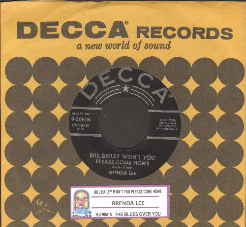 Lee, Brenda - Bill Bailey Won't You Please Come Home/Hummin' The Blues Over You (black label, silver lines, star, with juke box label and vintage Decca company sleeve) - EX8/ - 45 rpm Records