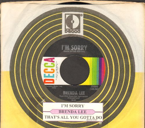 Lee, Brenda - I'm Sorry (So Sorry)/That's All You Gotta Do (with juke box label and Decca company sleeve) - NM9/ - 45 rpm Records