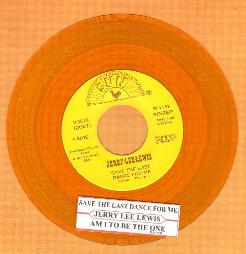 Lewis, Jerry Lee & Elvis Presley - Save The Last Dance For Me/Am I To Be The One (Duet with Elvis Presley sound-alike/impersonator, 1978 yellow vinyl release with juke box label) - EX8/ - 45 rpm Records