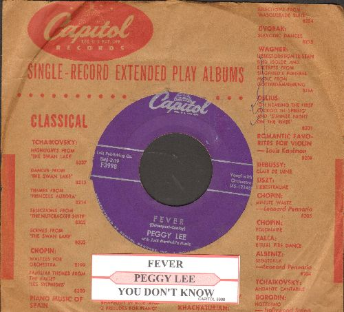 Lee, Peggy - Fever/You Don't Know (with juke box label and vintage Capitol company sleeve) - VG7/ - 45 rpm Records