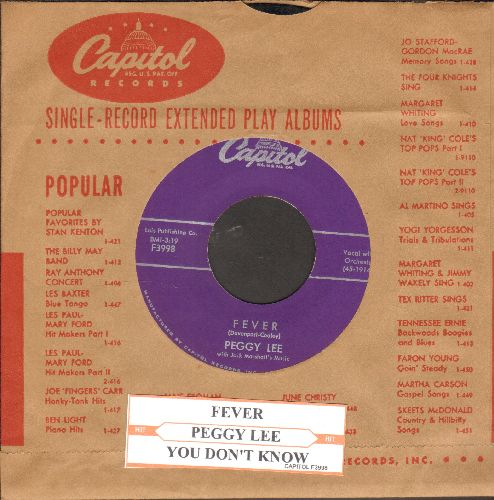 Lee, Peggy - Fever/You Don't Know (purple label with juke box label and vintage Capitol company sleeve) - EX8/ - 45 rpm Records