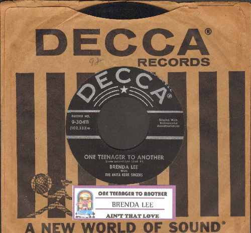 Lee, Brenda - One Teenager To Another/Ain't That Love (with juke box label and vintage Decca company sleeve) - EX8/ - 45 rpm Records