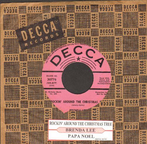Lee, Brenda - Rockin' Around The Christmas Tree/Papa Noel (DJ advance pressing with juke box label and vintage Decca company sleeve) - EX8/ - 45 rpm Records