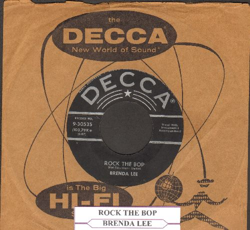 Lee, Brenda - Rock The Bop/Rock-A-Bye Baby Blues (with vintage Decca company sleeve and juke box label) - VG7/ - 45 rpm Records