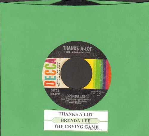 Lee, Brenda - Thanks A Lot/The Crying Game (with juke box label) - VG7/ - 45 rpm Records