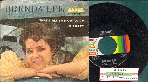 Lee, Brenda - I'm Sorry (So Sorry)/That's All You Gotta Do (with juke box label and RARE picture sleeve) - NM9/VG7 - 45 rpm Records