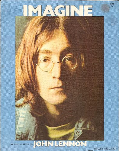 Lennon, John - Imagin - RARE SHEET Music for the legendary John Lennon Song, NICE cover art of the Star! - EX8/ - Sheet Music